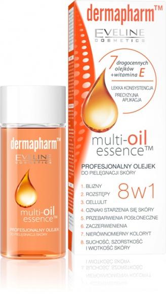 Dermapharm Multi-oil essence 8 w 1 Profesjonalny olejek do pielęgnacji skóry LIFESTYLE, Uroda - Multi-Oil Essence™ to profesjonalny olejek do pielęgnacji każdego rodzaju skóry opracowany w laboratorium Eveline Cosmetics Dermapharm™. Olejek łączy skuteczność naturalnych składników aktywnych z najnowszymi osiągnięciami kosmetologii i medycyny estetycznej.