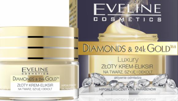 ZŁOTY KREM-ELIKSIR NA TWARZ, SZYJĘ I DEKOLT Eveline Cosmetics LIFESTYLE, Uroda - DIAMONDS & 24k GOLDTM to przełomowy program przeciwzmarszczkowy opracowany w laboratorium Eveline Cosmetics, który łączy skuteczność naturalnych składników aktywnych z najnowszymi osiągnięciami kosmetologii i medycyny estetycznej.