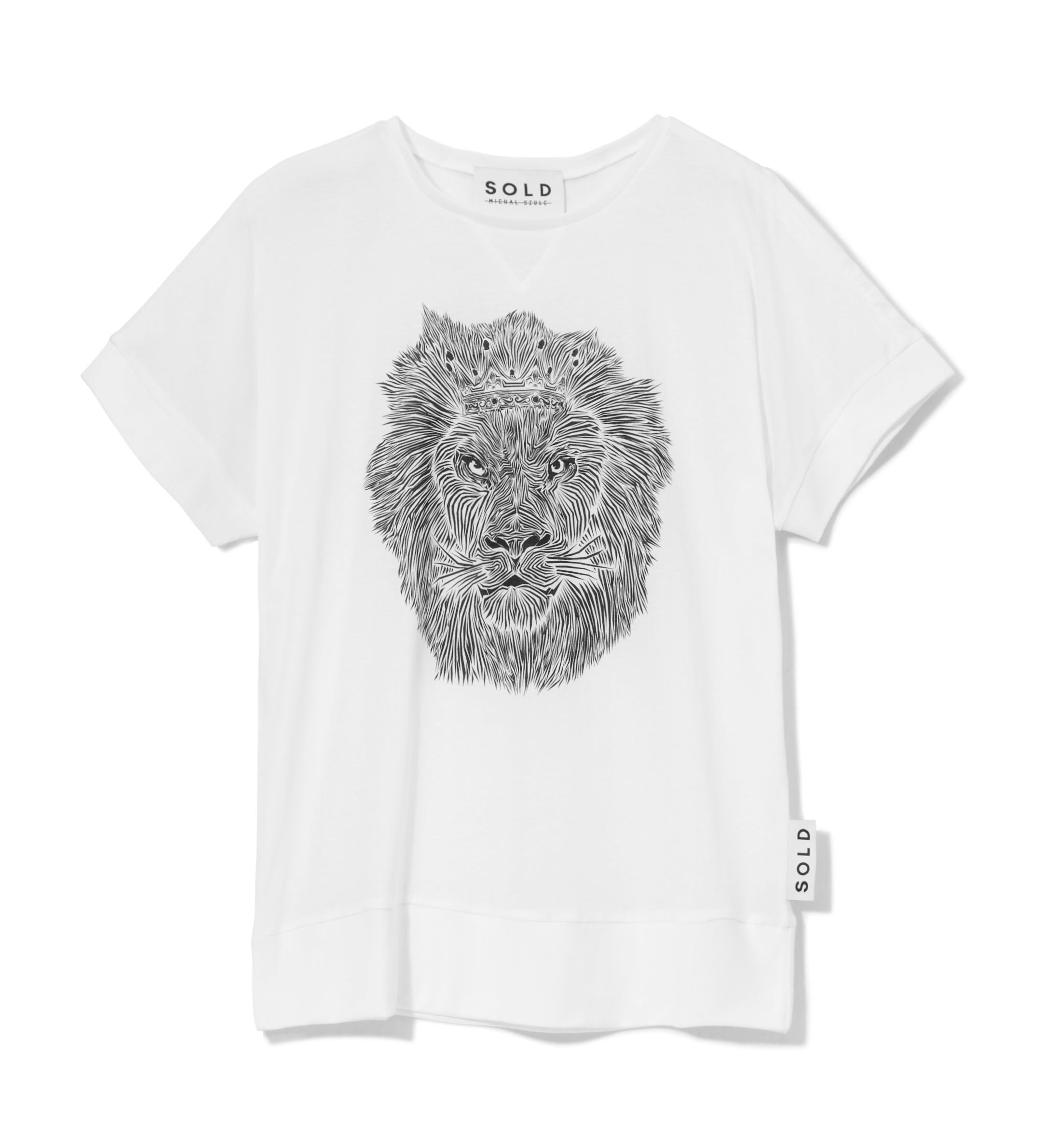SOLD Micha_ Szulc TSHIRT LION WHITE 149 z_