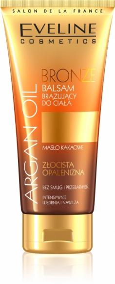 Eveline Cosmetics BRONZE Balsam Brązujący do ciała z serii ARGAN OIL LIFESTYLE, Uroda - • Złocista opalenizna bez smug i przebarwień • Intensywnie ujędrnia i nawilża