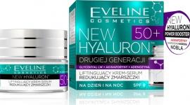 Eveline Cosmetics Liftingujący Krem-Serum Redukujący Zmarszczki 50+ LIFESTYLE, Uroda - NEW HYALURON to pionierska terapia aktywująca mechanizmy młodości w głębokich warstwach skóry. Przełomowa technologia TURBO LIFTING AGE DEFENSE™ na bazie DRUGIEJ GENERACJI KWASU HIALURONOWEGO i AKWAPORYN zapewnia bezprecedensową skuteczność w redukcji zmarszczek.