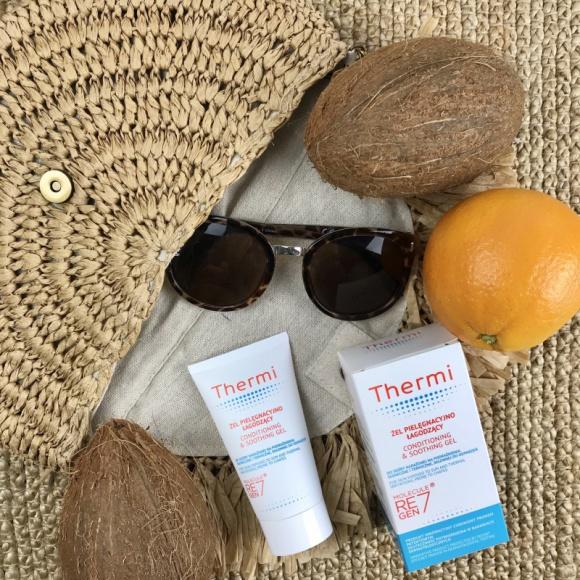 Thermi ŻEL PIELĘGNACYJNO-ŁAGODZĄCY LIFESTYLE, Uroda - Żel Thermi to innowacyjny preparat o kompleksowym działaniu pielęgnacyjno-łagodzącym. Stosowany w pielęgnacji skóry poddanej nadmiernej ekspozycji na słońce i ciepło, skłonnej do podrażnień i odparzeń.