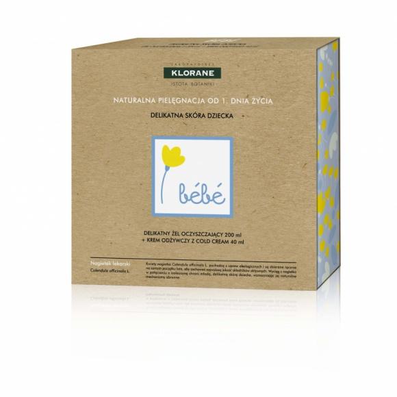 Klorane zestaw kosmetyków Bebe naturalna pielęgnacja od 1. Dnia Życia LIFESTYLE, Uroda - Delikatny żel oczyszczający i krem odżywczy Cold Cream dla twojego maluszka od 1. Dnia Życia.