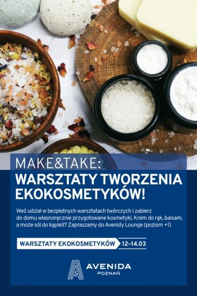 """""""Make & Take"""" – warsztaty tworzenia ekokosmetyków w poznańskiej Avenidzie LIFESTYLE, Uroda - Wieczorna kąpiel z ekologiczną solą, zakończona nałożeniem naturalnego balsamu... Brzmi jak wizyta w luksusowym salonie spa? Nic z tych rzeczy! Poznańska Avenida zaprasza na bezpłatne warsztaty ekokosmetyczne, dzięki którym w domowym zaciszu urządzisz własny salon urody."""